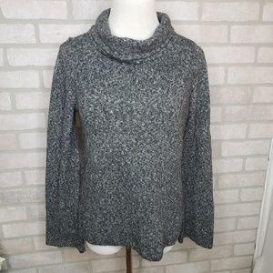 Loft Dark Grey Heathered Mock Neck Sweater